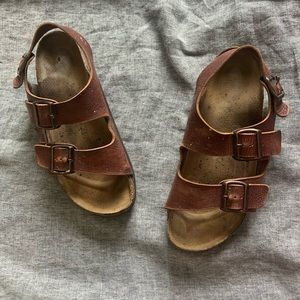 Birkenstocks Milano brown leather sandals size 10